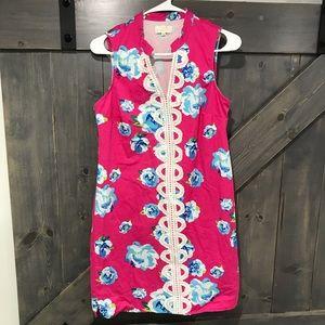 Mud Pie Pink & Blue Floral Sheath Dress Medium